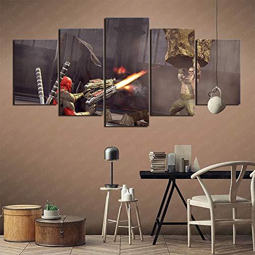 GBxebenYN02 5 Pezzi di Pittura su Tela quintupla Decorazione murale Deadpool Palestra Soggiorno Dipinto con Cornice 100x50 cm