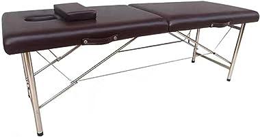 Kuingbhn Table de massage pliante portable pour salon de beauté, spa, tatouage, meubles en bois de hêtre, cuir et acier inoxy