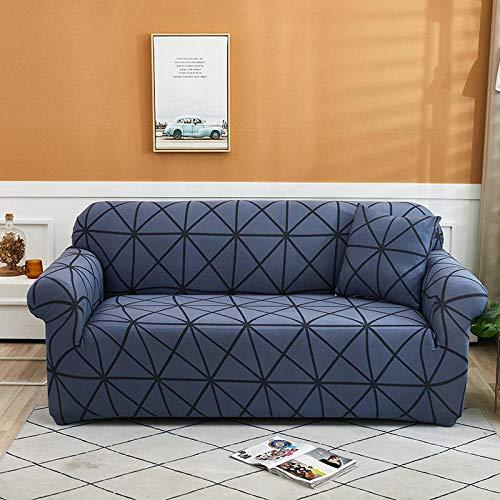 Funda de sofá de 2 Plazas Funda Elástica para Sofá Poliéster Suave Sofá Funda sofá Antideslizante Protector Cubierta de Muebles Elástica Tela Escocesa Azul Funda de sofá