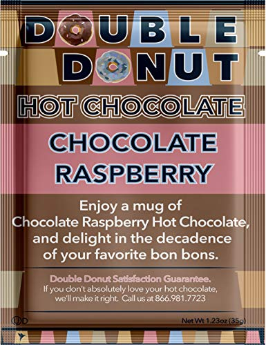 Double Donut Flavored Hot Chocolate, Raspberry Hot Chocolate, Hot Chocolate Packets, Hot Cocoa Mix, Pack 32 Pouches per Pack