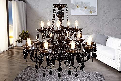 15-flammiger Design Kronleuchter BLACK CRYSTAL schwarz 15-armig Lüster Lampen Hängeleuchte Deckenlampe - 3