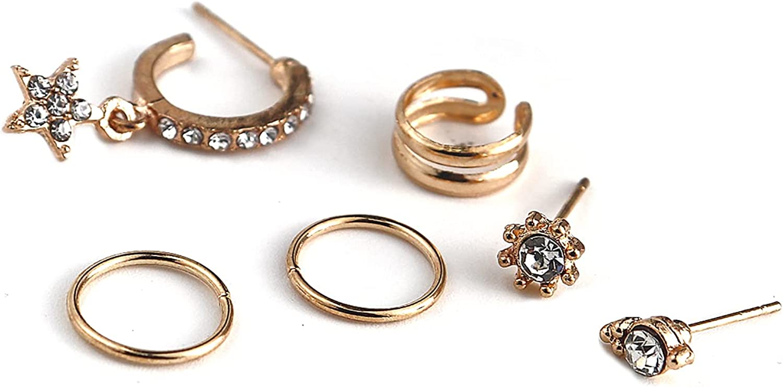 7PCS creative retro full diamond cross earrings alloy ear clip set