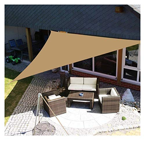 ZXD Shading Waterproof Sun Shade Sail, Garden Canopy PES Polyester Triangle Protective Screen Shelter Awning Gazebo Canopy For Outdoor Patio (Color : Sand, Size : 5x5x5m)