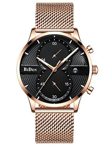 Relojes Cronógrafo Dorado para Hombre Reloj Impermeable de Los Hombres Calendario de Fecha de Moda Reloj de Malla de Acero Inoxidable Reloj de Pulsera de Cuarzo Analógico Multifuncional Gents
