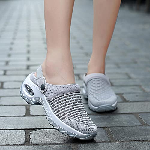 DZQQ 2020 nuevos Zapatos de Mujer, Sandalias Informales con cojín de Aumento, Sandalias de Plataforma Antideslizantes para Mujer, Zapatillas para Caminar al Aire Libre de Malla Transpirable