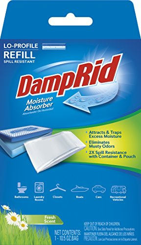 DampRid FG46 Lo-Profile Refill Moisture Absorber, 1, Fresh Scent 1 Fresh Scent Lo-Profile moisture absorber refill Attracts and Traps Excess Moisture Eliminates Musty Odors
