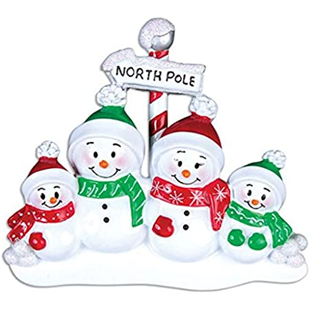 Grantwood Technology Personalized Christmas Ornaments Family Series-North Pole Family of 4
