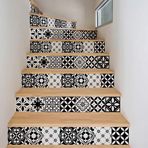 2 zelfklevende trapstickers tegels, stickers, contourmarkering, tegels, cementtegels, 15 x 105 cm, 2 stroken