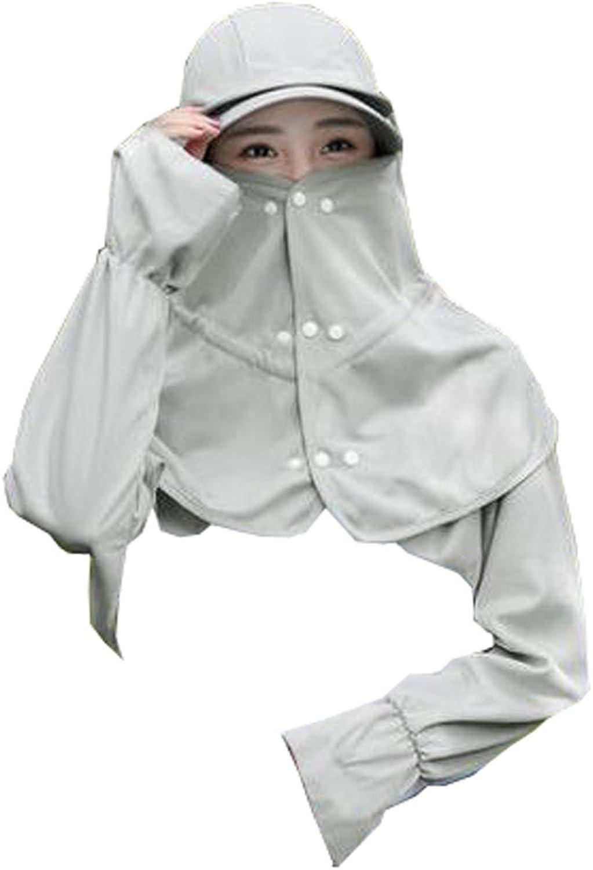 Women Outdoor Summer Cap Face AntiUV Hat Neck Arm Predection Cover UPF50+ Fabric (Grey)