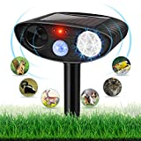 Dog Repellent Ultrasonic, Outdoor Solar Powered and Weatherproof Ultrasonic Repeller with PIR Sensor Cats, Dogs, Birds and More