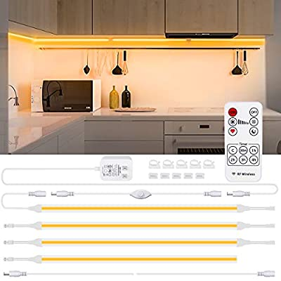 WILLED Dimmable Under Cabinet Lighting Kit, 4 PCS COB LED Strips with Remote Control, Soft Light for Kitchen Counter, Closet, Bookshelf, Warm White 2700K with UL-Listed Adapter