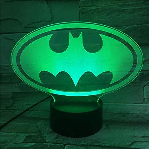 Luce Notturna 3D Dc Justice League Batman Logo Luce Notturna A Led 3D Cartoon Supereroe Ragazzi Bambino Bambini Regali Di Compleanno Lampada Da Comodino