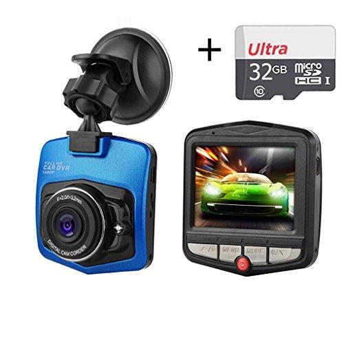 Auto DVR On-Dash-Kamera-Recorder,Full HD 1080P Nachtsicht Weitwinkel Dashboard Mini Car Loop-Zyklus Packing Recorder mit 32G Micro SD-Karte (Blau)