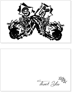 Black Motorcycle Rider Motorcycle Pattern Thank You Card Birthday Wedding Business Message Set