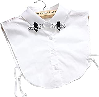 LANGUGU Stylish Detachable Half Shirt Blouse Cotton False Collar Embroidered Bee Collar Dickey Collar