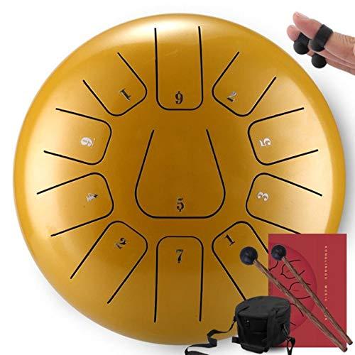 tytuoling Estilo De Flor De Tambor De Lengua De Acero con Mazos 12 Pulgadas 11 Notas Instrumento De Percusión De Bolsa De Libros De Música, Accesorios De Herramientas De Yoga Y Meditación Oro