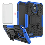 Phone Case for LG Stylo 3 and Stylo3 Plus with Tempered Glass Screen Protector Cover Stand Hard Rugged Hybrid Protective Cell Accessories LGstylo3 3+ Stylus 3Plus LS777 LGL84VL L84VL Cases Black Blue