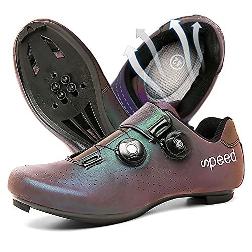 DSMGLRBGZ Zapatos de ciclismo, (37-47) suela de nailon transpirable, con hebilla giratoria, sensación de pie ligera, zapatos de bicicleta de carretera/montaña para hombres y mujeres, decoloración, 42