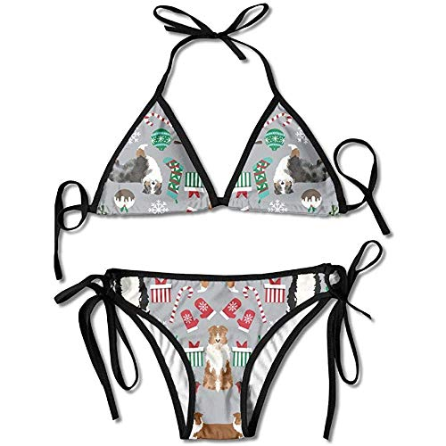 KL Decor Bikini Set,Pastor Australiano Navidad Mujeres Sexy