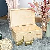 LAUBLUST – Holzkiste zur Aufbewahrung in Größe M – Kiefer Unbehandelt ca. 30 x 20 x 14 cm – Kiste mit Runden Kanten und Deckel aus Vollholz - 7