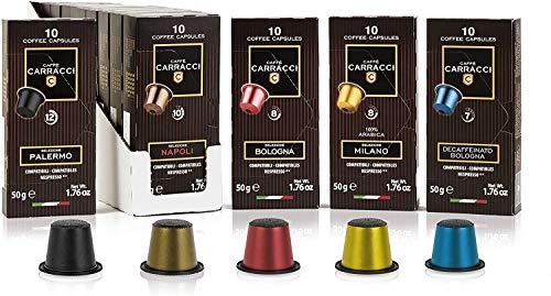 Caffè Carracci, Capsule Compatibili Nespresso, Kit Miscele Assortite, 10 Astucci da 10 Capsule (Totale 100 Capsule)