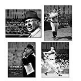 Retro Sports Motivational Quotes Tin Sign Decor Bundle - Vince Lombardi Successful Person, Babe Ruth No Fear, Vince Lombardi Measure of Who We are & Ted Williams Baseball