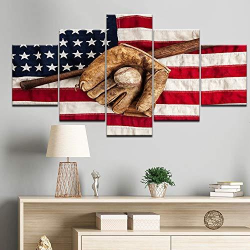 Amerikaanse Amerikaanse vlag canvas schilderij sport honkbal handschoen honkbalknuppel woonkamer poster familie decoratie print wall art foto