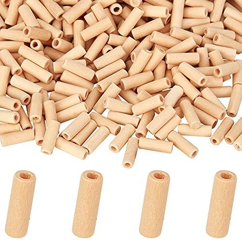 AHADERMAKER - Cuentas de tubo de madera natural sin teñir, 1000 piezas de cuentas de tubo de madera para hacer joyas de madera sin terminar para manualidades y manualidades