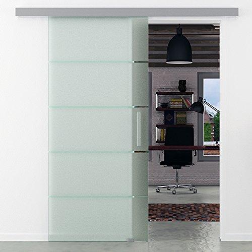 Glasschiebetür 775x2050 mm 5 waagerechte Streifen gestreift Levidor Basic-System komplett Laufschiene und Stangengriffe Schiebetür aus Glas für Innenbereich ESG-Sicherheitsglas
