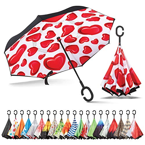Sharpty Inverted Umbrella, Umbrella Windproof, Reverse Umbrella, Umbrellas for Women, Upside Down Umbrella with C-Shaped Handle (Hearts)