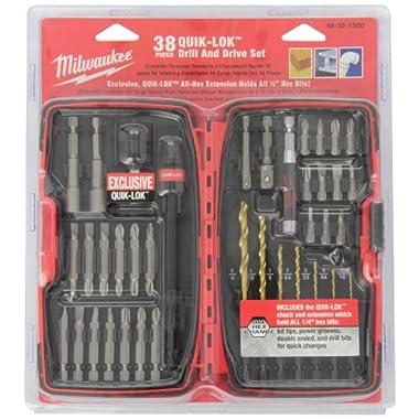 Milwaukee 48-32-1500 Quik-Lok 38-Piece Hex Shank Drilling and Driving Bit Set
