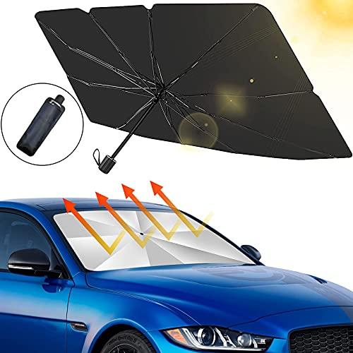 smatoy Sonnenschutz Auto Frontscheiben Faltbarer Sonnenblende, UV Schutz und Wärme Sonnenblendenschutz Reflektor Regenschirm für Auto Frontscheibe und Heckscheibe - 49 x 25,6 inches