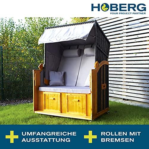 Hoberg 2-Sitzer-Strandkorb (Ostsee), 120x80x160 cm, 5 Liegestufen einstellbar, Rollen mit Feststellbremsen, ausziehbare Fußbänke, 2 Nackenkissen - 2