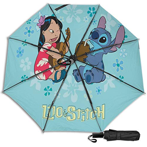 Kompakter Manueller Dreifach Reise Anti-Uv Regenschirm Zum Öffnen/Schließen, Winddichter, Faltbarer, Leichter Sonnenschirm Im Freien, Lilo Stitch Gitarre