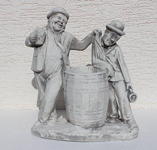 JS GartenDeko Beton Figur Dick und Doof mit Bierkrügen am Fass zum Bepflanzen H 40 cm Dekofigur Gartenskulptur