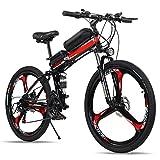 TDHLW 26 Pulgadas Bicicleta de Montaña Eléctrica Plegable para Adultos 21 Velocidades, 250W eBike 36V 10Ah Batería de Litio Extraíble Bicicleta Eléctrica Impermeable Amortiguador Doble,Rojo