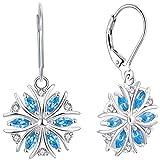 YL Damen Ohrringe Schneeflocke 925 Sterling Silber Marquise Blau Zirkonia Ohränger Baumeln Ohrringe für Frauen Weihnachtsgeschenk