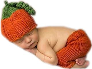 Vemonllas Fashion Unisex Newborn Girl Baby Outfits Halloween Pumpkin Set Photography Props Hat Pants