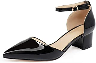 "Eldof Pointed Toe Pumps,Ankle Strap Chic Pumps,Classy Block Heel 2"" Heel for Office Dress"