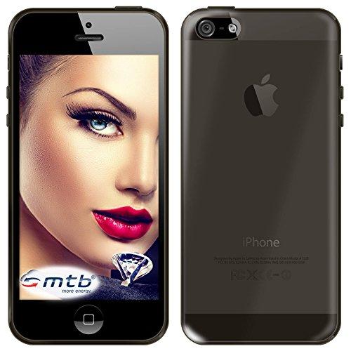 mtb More Energy Funda Clear & Slim para Apple iPhone 5 / 5S / SE (4.0'') - transp. / Negro - Flexible - Delgada - Gel TPU Silicona Carcasa Suave Cascara