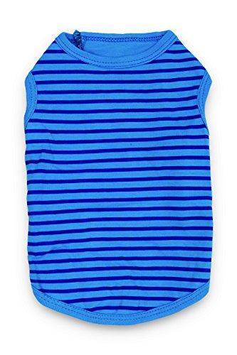 DroolingDog Perro Perro Ropa de Rayas llanas Camisas para Mascotas para Perros pequeños Medio (5.5-8.8lb) Azul