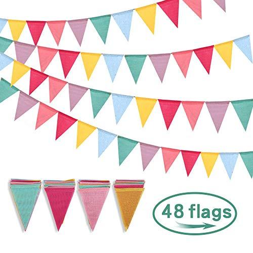 NETUME 48 Flaggen Wimpelkette, Wimpelkette Draußen Wetterfest Mehrfarbige Nachgeahmt Sackleinen Wimpel Garten, Bunt Wimpelgirlande im Draußen und Drinnen für Party Hängende Hochzeit Dekoration