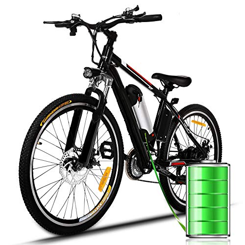 Plohee Electric Mountain Bike Adult 26'' Electric Bike with Removable 36V/8Ah Lithium-Ion Battery - Professional 21 Speed Gear and Three Working Modes