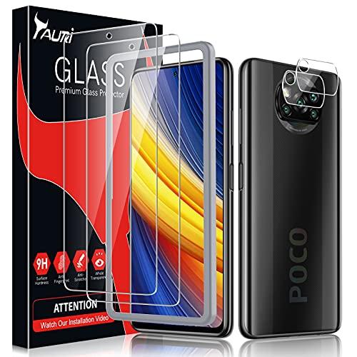TAURI 4 Pezzi Vetro Temperato per Xiaomi Poco X3 NFC/Poco X3 PRO con 2 Pezzi Pellicola Protettiva + 2 Pezzi Fotocamera Posteriore Pellicola - Senza Bolle Schermo Protettivo con Kit D'Installazione