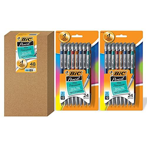 BIC Xtra-Precision Mechanical Pencil, Metallic Barrel, Fine Point (0.5mm), 48-Count