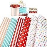 mengxin 6 fogli di carta da regalo compleanno e 2 rotoli filo di cotone pois stripe cuore carta da regalo colorata carta da pacchi regalo per natale, baby shower, regali anniversari, capodanno