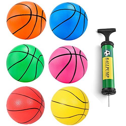 SEALEN Mini-Basketball, Aufblasbares Pool-Basketballspielzeug, Gummibälle für Strandsportspiel Partyzubehör 6er Pack mit Pumpe (L)