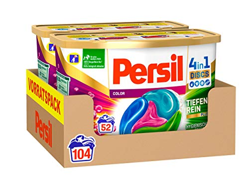Persil Color 4in1 Discs (104 Waschladungen), Colorwaschmittel mit Tiefenrein-Plus Technologie und langanhaltender Frische, Waschmittel für leuchtende Farben
