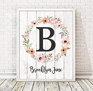 Girls Monogram Paper Art Print | Girls Wood Nursery | Rustic Nursery | Nursery Name Decor | Pink Nursery Sign | Girls Room | Girls Room Decor | Dorm Decor | Floral Print