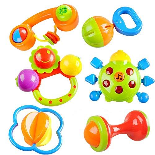 Ogquaton Juego de 6 sonajeros de plástico para recién nacido, resistente y práctico
